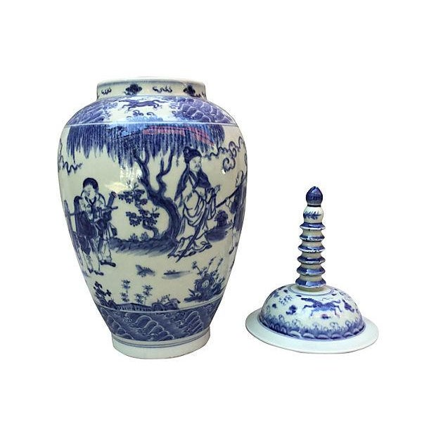 Blue & White Spiral Lid Ginger Jar - Image 4 of 7