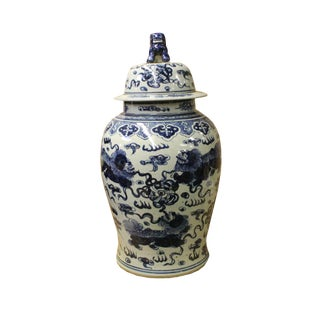 Chinese Large Blue & White Foo Dogs Porcelain General Temple Jar For Sale