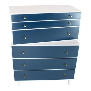 White and Blue High Chest on Chest Two Pieces McCobb Dresser Cabinet Six Drawers For Sale