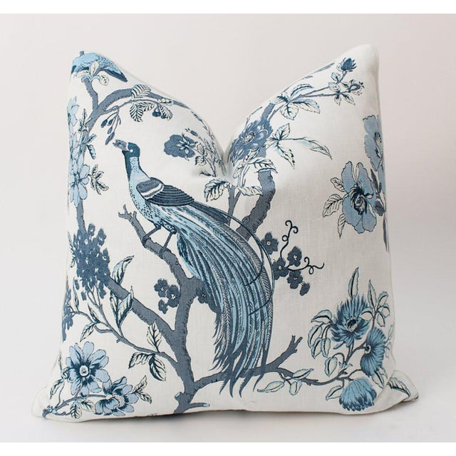 2010s Blue and Ivory Chinoiserie Bird Pillows, a Pair For Sale - Image 5 of 8