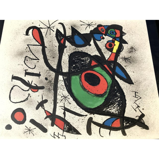 Vintage 1970s Joan Miro, 1893-1983 framed Lithograph. Limited rare piece, marked with gallery info on back. Vibrant colors...