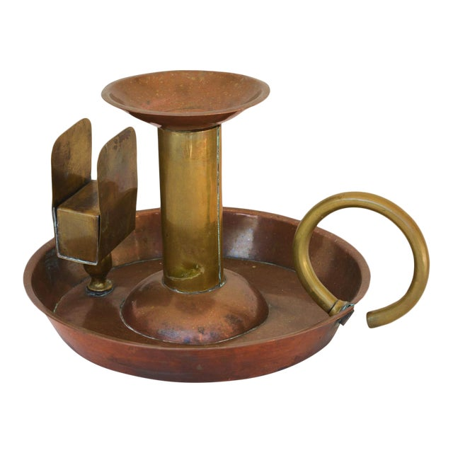 Large Antique Copper Candle Holder For Sale