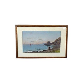 19th Century Vintage Italian Bay of Naples Gouache Painting For Sale