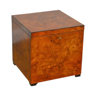 Decorative Crafts Italian Burl Wood Cube Lidded Chest Side Table For Sale