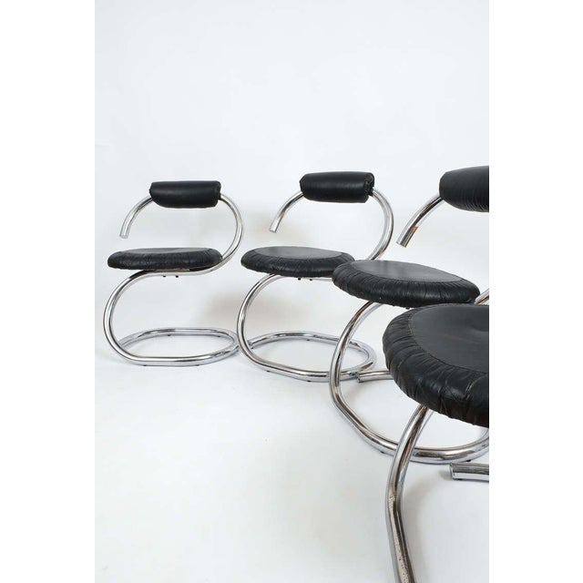 Set of Four Italian Leather Chrome Spiral Chairs by Stoppino For Sale - Image 10 of 10