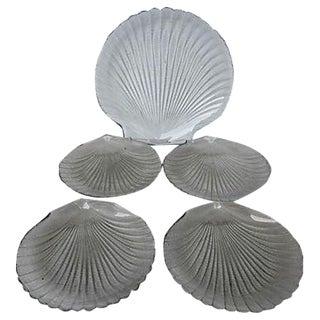 Vintage Glass Scallop Plates & Server - Set of 5 For Sale