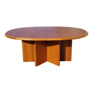 Vintage Danish Modern Dining Table W 2 Leaves Made Denmark by Ansager Mobler For Sale