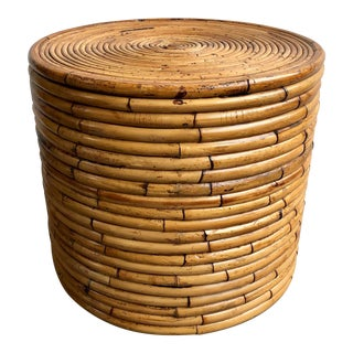 20th Century Boho Chic Banded Rattan Drum Table For Sale