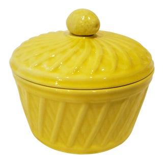 Yellow Italian Ceramic Basket Weave Bowl With Lemon Adorned Lid For Sale