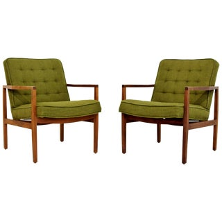 Mid-Century Modern Pair of Rare Florence Knoll Angled Wood Armchairs, 1960s For Sale