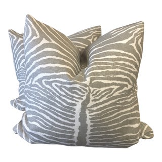 "Brunschwig & Fils ""Le Zebre "" Pewter 22"" Pillows-A Pair For Sale"