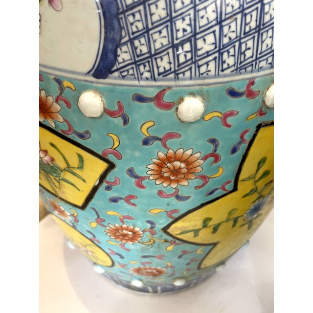 Ceramic Antique Chinese Chinoiserie Turquoise & Yellow Ceramic Garden Seat, A-Pair For Sale - Image 7 of 10