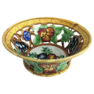 20th Century Decorative Flowers Ceramic Bowl For Sale