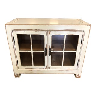 Ethan Allen Ming Aged Bisque Small Media Cabinet For Sale