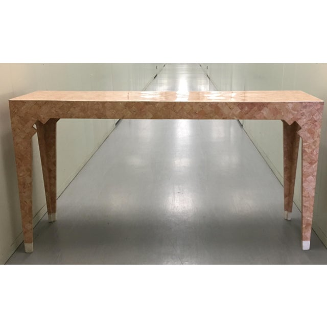 Maitland Smith Pink Tessellated Stone Console Table For Sale In New York - Image 6 of 7