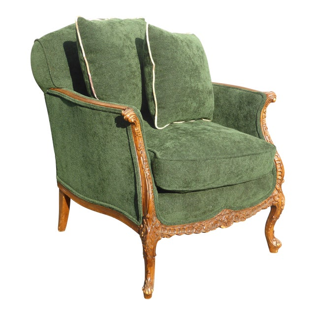 Vintage French Louis XV Style Forest Green Velvet Arm Chair For Sale