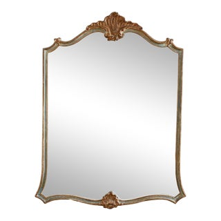 Italian Painted Rococo Style Shield Shaped Mirror For Sale
