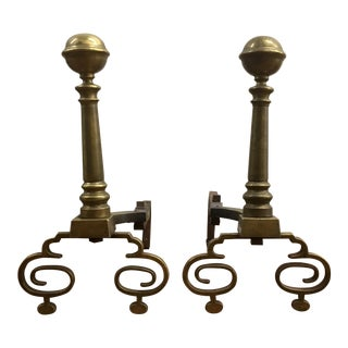 Vintage Brass Formal Andirons - a Pair For Sale
