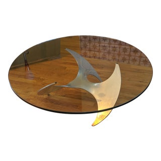 Vintage Mid Century Aluminum and Glass Propeller Table by Knut Hesterberg For Sale