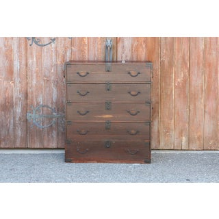 Antique Red Lacquered Tansu Dresser Preview