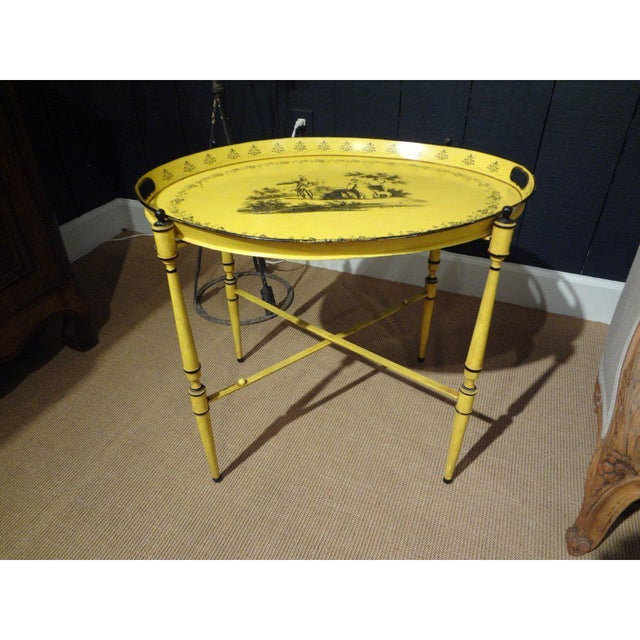 1940's Italian Neoclassical Tole Tray Table For Sale In Houston - Image 6 of 8