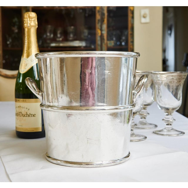 This antique silver plate champagne bucket is from the historic Moana Hotel in Honolulu, Hawaii. Silver pieces from the...