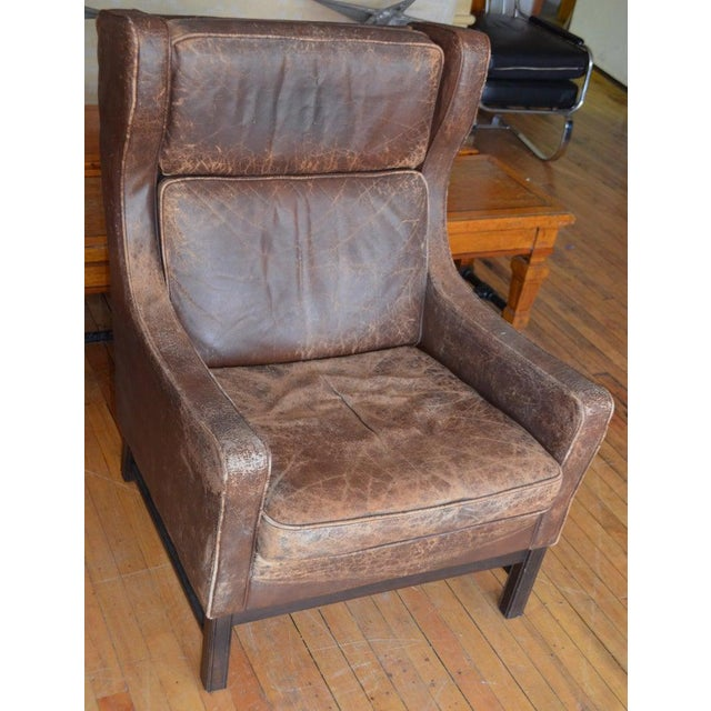 Edwardian Club Chair of Worn Leather From Edwardian England, Wingback, Early 20th Century For Sale - Image 3 of 13