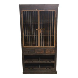 Rustic Style Wood + Metal Storage Cabinet For Sale