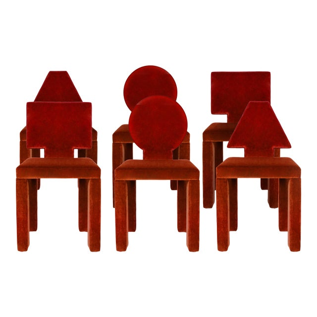 Contemporary Dining Chairs in Crimson Cotton Velvet - Set of 6 For Sale
