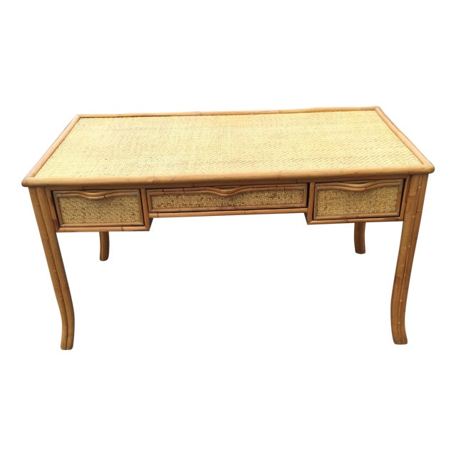 Vintage Island Bamboo Rattan Writing Desk - Image 1 of 11