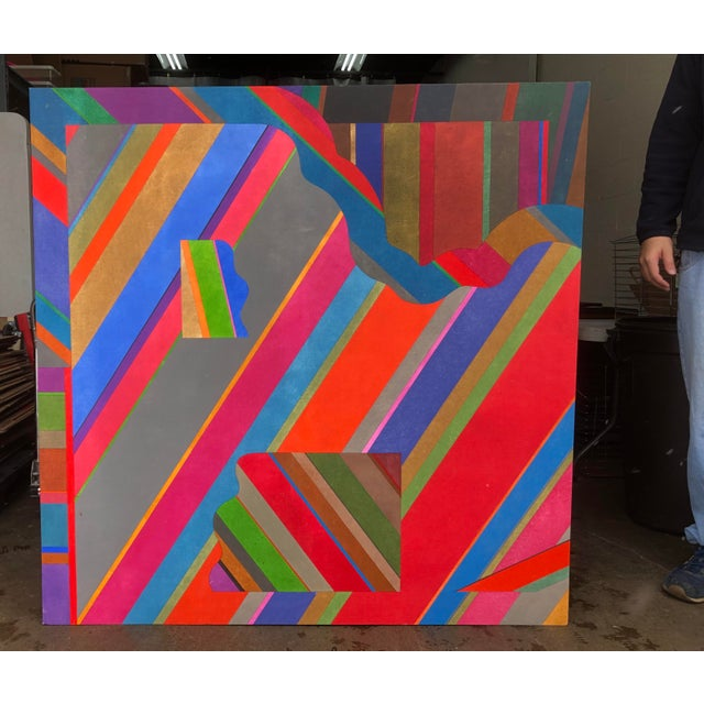 Large 1970s Graphic Hardedge Geometric Painting by Roland Ginzel For Sale In Chicago - Image 6 of 12