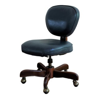 1980s Navy Blue Leather Desk Chair For Sale