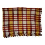 Image of Vintage Red and Yelllow Plaid Wool Throw Blanket For Sale