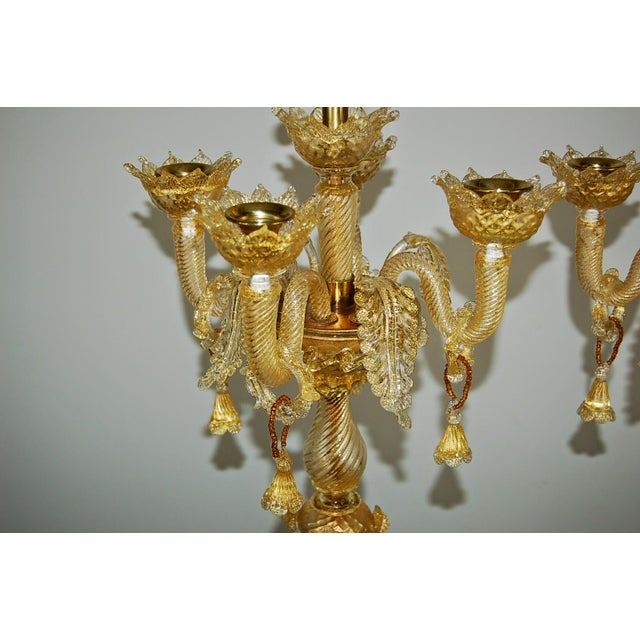1960s Marbro Murano Candelabra Glass Table Lamps Gold For Sale - Image 5 of 10