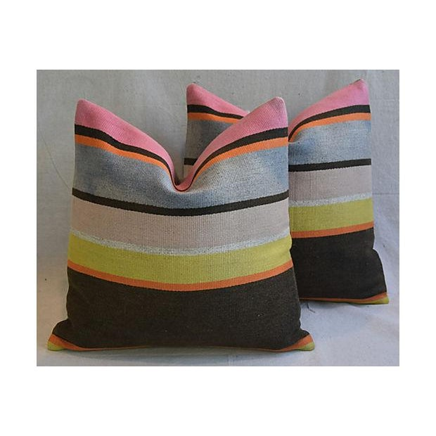 Custom Tailored Anatolian Turkish Kilim Wool Feather/Down Pillows - A Pair - Image 10 of 11