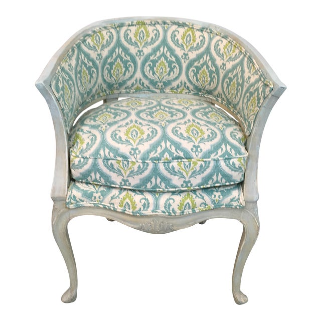 Blue Italian Painted Arm Chair For Sale - Image 8 of 8