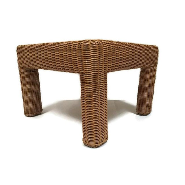 Vintage Wicker Footstool Rattan Ottoman For Sale - Image 11 of 12
