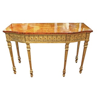 18th Century English George III Burl Maple and Giltwood Console Table For Sale