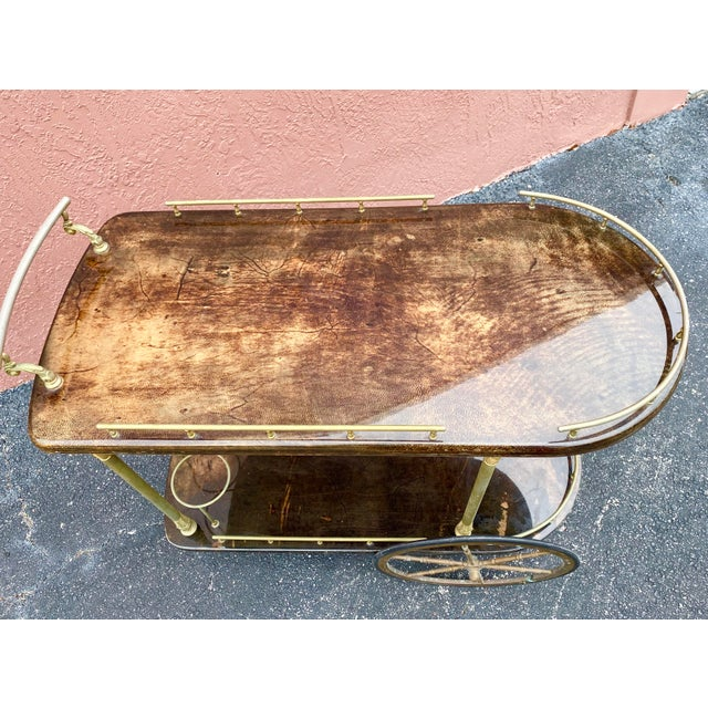 Hollywood Regency Vintage Aldo Tura Goatskin Bar Cart For Sale - Image 3 of 13