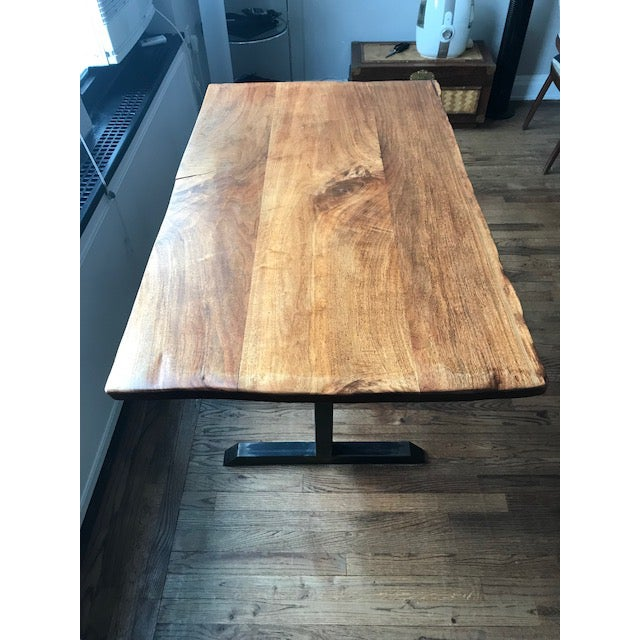 2000 - 2009 Contemporary Live Edge Black Walnut Table With Blackened Steel Pedestal Base For Sale - Image 5 of 7