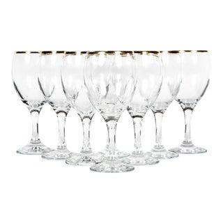 1970s Gilt Rim Glass Wine Stems, Set of 8 For Sale