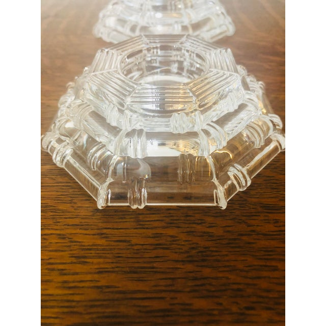 1980s Vintage Glass Bamboo Pattern Tea Light Holders - a Pair For Sale - Image 5 of 8