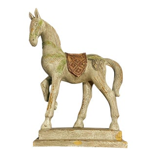 Weathered Composite Horse Figurine For Sale