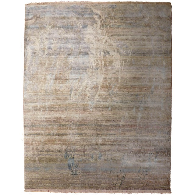 "Abstract Hand-Knotted Rug - 8′ × 9′11"" - Image 1 of 10"