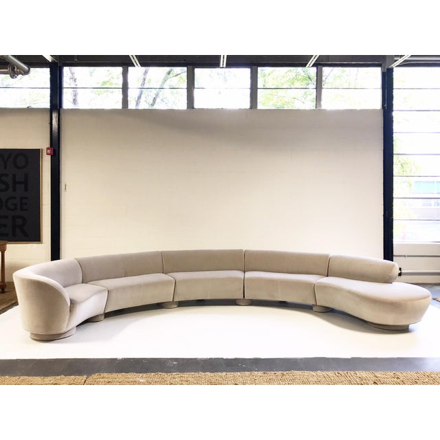 Vintage Vladimir Kagan for Directional Cloud Sofa Restored in Loro Piana Grey Velvet For Sale - Image 10 of 10