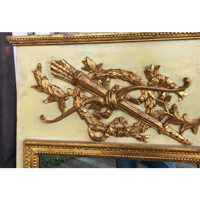 French Provincial 19th Century Hand Painted & Gold Leaf French Trumeau Pier Mirror For Sale - Image 3 of 9