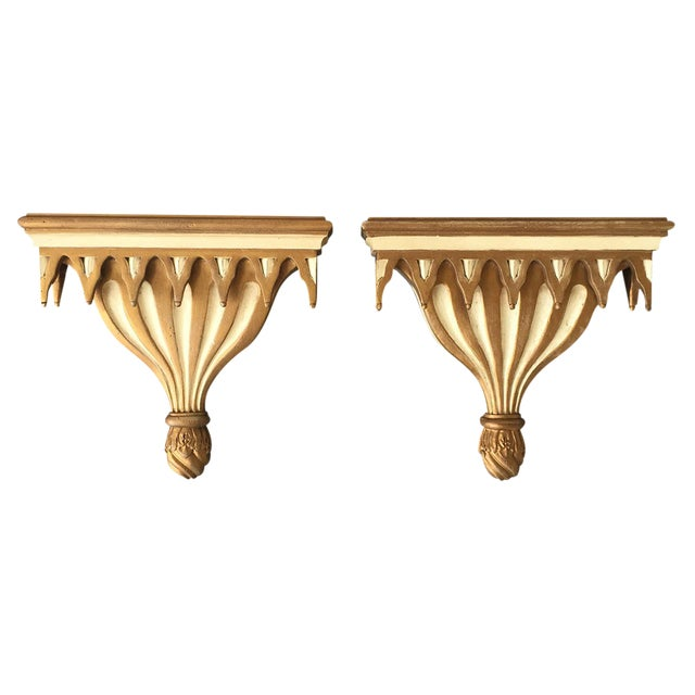 Gothic Style Decorative Cream and Gilt Painted Brackets - A Pair - Image 1 of 3
