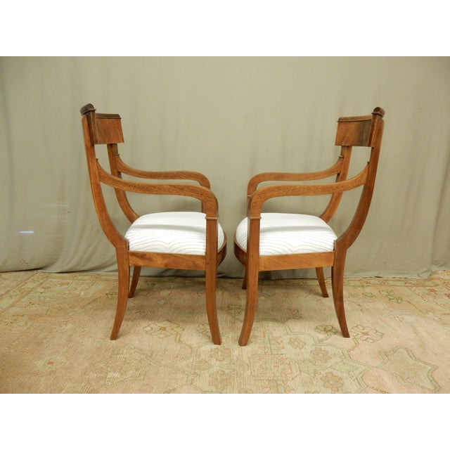 Pair of Neo-Classical Empire Arm Chairs For Sale - Image 4 of 5