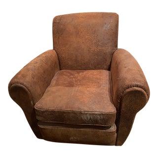 Restoration Hardware Parisian Leather Chair For Sale