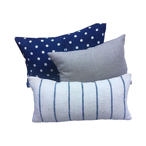 French Indigo Grain Sack Pillows- Set of 3 - Image 5 of 5